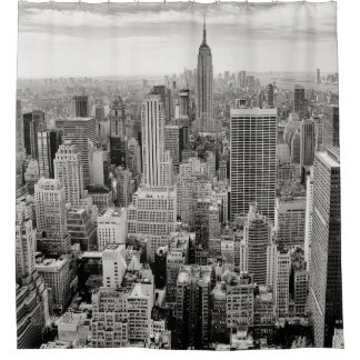 Manhattan, New York (black & white panorama) Shower Curtain