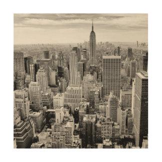 Manhattan, New York (black & white panorama) Wood Print