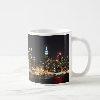 Manhattan New York skyline night Coffee Mug