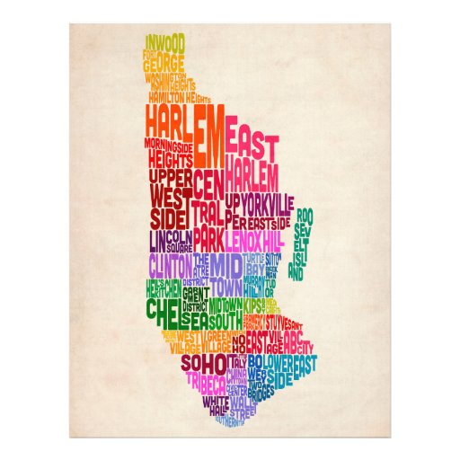 Manhattan New York Typography Text Map Personalized Flyer