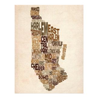 Manhattan New York Typography Text Map Flyers
