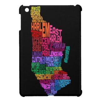 Manhattan New York Typography Text Map iPad Mini Cover