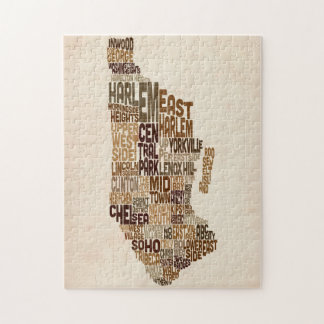 Manhattan New York Typography Text Map Jigsaw Puzzle