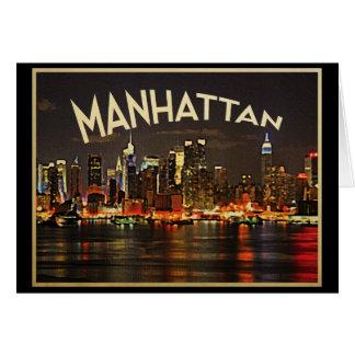 Manhattan Night Skyline Card