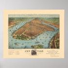 Manhattan, NY Panoramic Map - 1879 Poster