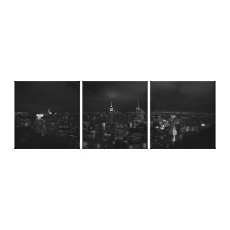 Manhattan NYC at Night Panoramic B&W canvas