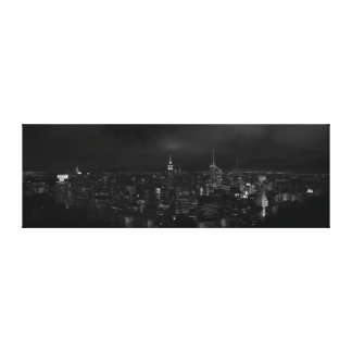 Manhattan NYC at NIght Panoramic Canvas B&W