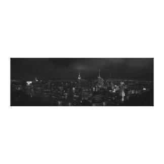 Manhattan NYC at NIght Panoramic Canvas B&W Canvas Print
