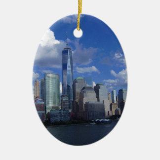 Manhattan NYC World Trade Center WTC Hudson River Ceramic Oval Decoration