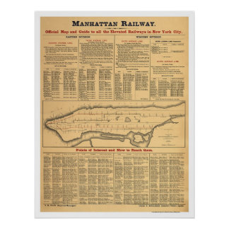 Manhattan Railway Railroad Map 1881 Poster