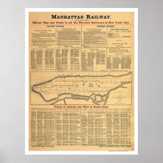 Manhattan Railway Railroad Map 1881 Print