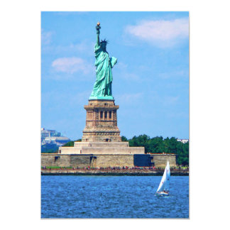Manhattan - Sailboat By Statue Of Liberty 13 Cm X 18 Cm Invitation Card