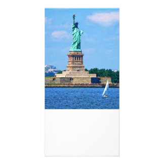 Manhattan - Sailboat By Statue Of Liberty Customised Photo Card