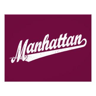 Manhattan script logo in white distressed 21.5 cm x 28 cm flyer