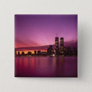 Manhattan Skyline and Hudson River, New York, 15 Cm Square Badge