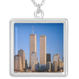 Manhattan Skyline and Hudson River, New York, 2 Silver Plated Necklace