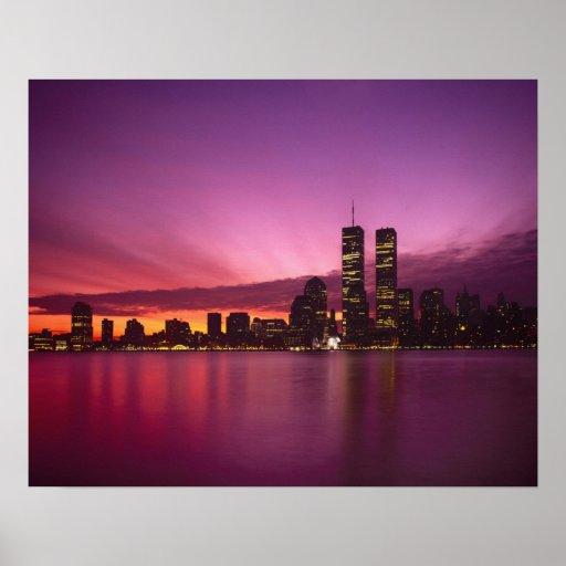 Manhattan Skyline and Hudson River, New York, Poster