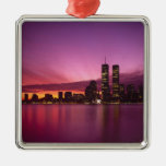 Manhattan Skyline and Hudson River, New York, Silver-Colored Square Decoration