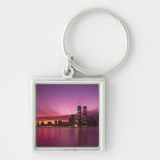 Manhattan Skyline and Hudson River, New York, Silver-Colored Square Key Ring