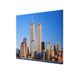 Manhattan Skyline and Hudson River, New York, Stretched Canvas Print