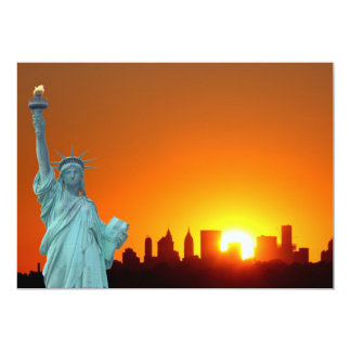 Manhattan Skyline and The Statue of Liberty 13 Cm X 18 Cm Invitation Card