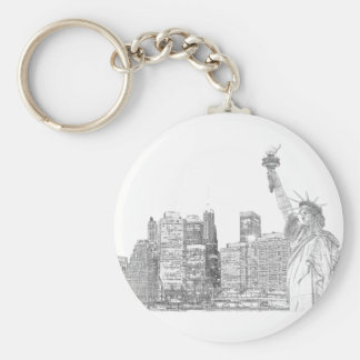 Manhattan Skyline and The Statue of Liberty Basic Round Button Key Ring