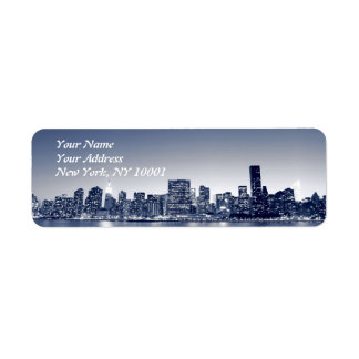 Manhattan Skyline At Night, New York City Return Address Label
