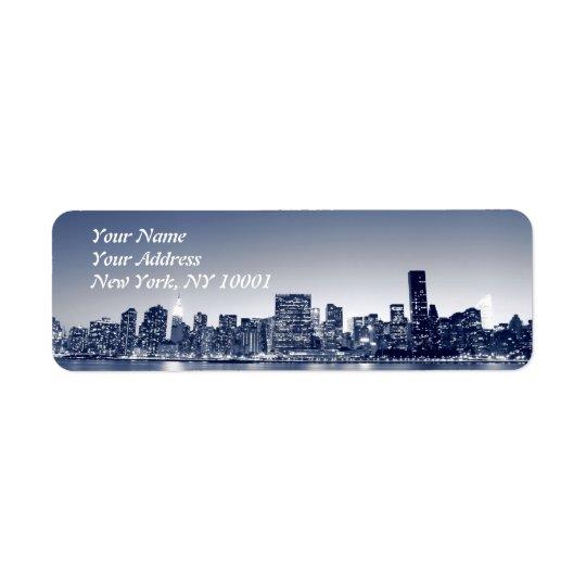 Manhattan Skyline At Night, New York City Return Address Label