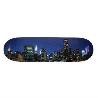 Manhattan Skyline at Night Skate Board Deck