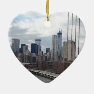 Manhattan skyline New York Ceramic Heart Decoration