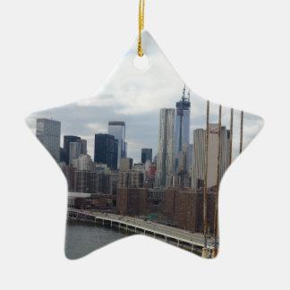 Manhattan skyline New York Ceramic Star Decoration
