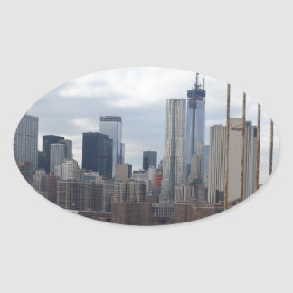 Manhattan skyline New York Oval Sticker