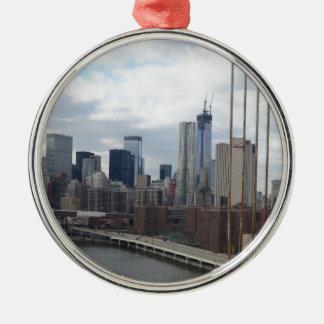 Manhattan skyline New York Silver-Colored Round Decoration
