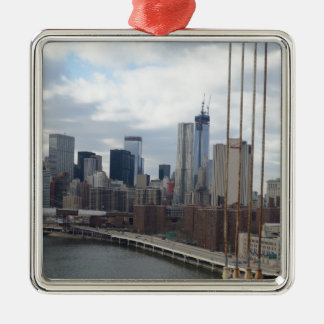 Manhattan skyline New York Silver-Colored Square Decoration