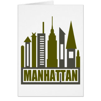 Manhattan Skyline With Cutouts, Gray & Green Greeting Card