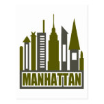 Manhattan Skyline With Cutouts, Grey & Green