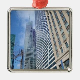 Manhattan Skyscrapers Silver-Colored Square Decoration