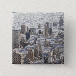 Manhattan Under Cloudy Sky 15 Cm Square Badge
