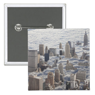 Manhattan Under Cloudy Sky 15 Cm Square Badge