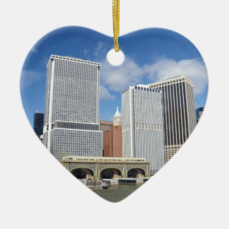Manhattan viewed from the water. ceramic heart decoration