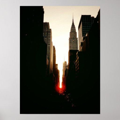 Manhattanhenge and Chrysler Building, Medium Poster