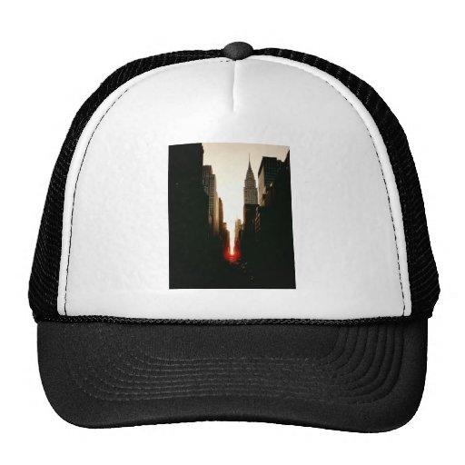 Manhattanhenge Sunset and the Chrysler Building Trucker Hats