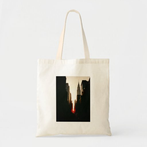 Manhattanhenge Sunset and the Chrysler Building Tote Bags