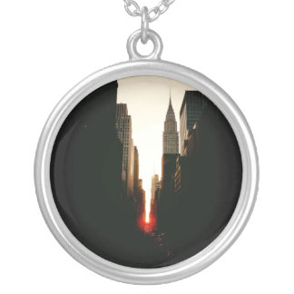 Manhattanhenge Sunset and the Chrysler Building Round Pendant Necklace