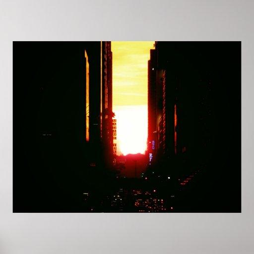 Manhattanhenge Sunset Down 42nd Street, All Sizes Poster