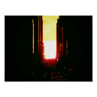 Manhattanhenge Sunset Down 42nd Street Small Poster