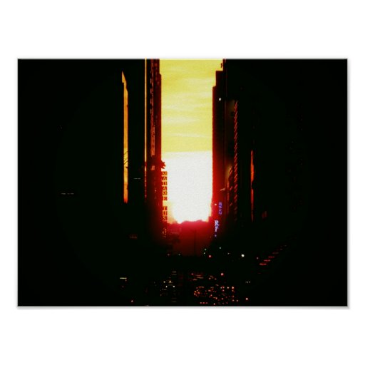 Manhattanhenge Sunset Down 42nd Street, Small Poster
