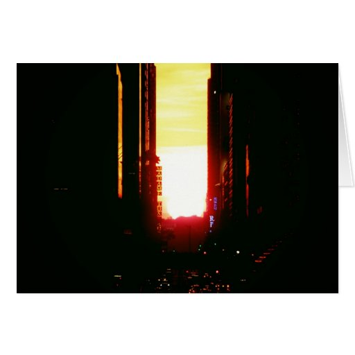 Manhattanhenge Sunset Looking Down 42nd Street Card