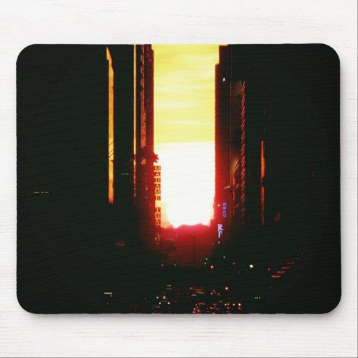 Manhattanhenge Sunset Looking Down 42nd Street Mousepad