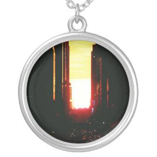 Manhattanhenge Sunset Looking Down 42nd Street Round Pendant Necklace